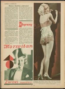 """Marlena Ditrich promuje zwijki Morwitan firmy Herbewo, """"Kino"""" 1932, nr 48"""