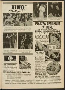 """Reklamy mydła i kremu sportowego Tokalon, """"Kino"""" 1939, nr 31, nr 28, nr 35"""